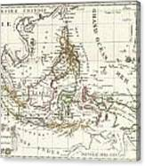 1810 Tardieu Map Of The East Indies Singapore Southeast Asia Sumatra Borneo Java Canvas Print