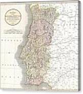 1811 Cary Map Of The Kingdom Of Portugal Canvas Print
