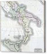 1814 Thomson Map Of Southern Italy Canvas Print