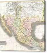 1814 Thomson Map Of Texas Mexico  Louisiana Canvas Print