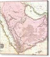 1818 Pinkerton Map Of Arabia And The Persian Gulf Canvas Print