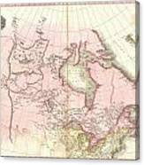 1818 Pinkerton Map Of British North America Or Canada Canvas Print