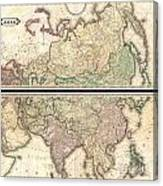 1820 Lizars Wall Map Of Asia Canvas Print