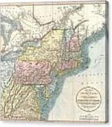 1821 Cary Map Of New England New York Pennsylvania And Virginia Canvas Print