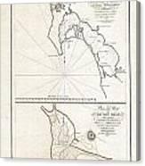 1825 Victoria Map Of San Diego California And San Blas Mexico  Canvas Print