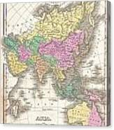 1827 Finley Map Of Asia And Australia Canvas Print