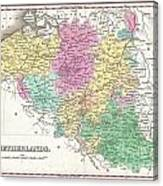 1827 Finley Map Of Belgium And Luxembourg Canvas Print
