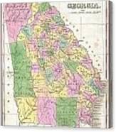 1827 Finley Map Of Georgia Canvas Print