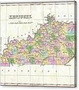 1827 Finley Map Of Kentucky Canvas Print