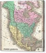 1827 Finley Map Of North America Canvas Print