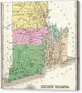 1827 Finley Map Of Rhode Island Canvas Print
