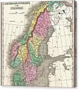 1827 Finley Map Of Scandinavia Norway Sweden Denmark Canvas Print