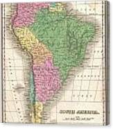 1827 Finley Map Of South America Canvas Print