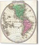 1827 Finley Map Of The Western Hemisphere Canvas Print