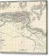 1829 Lapie Historical Map Of The Barbary Coast In Ancient Roman Times Canvas Print