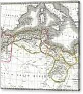 1829 Lapie Map Of The Eastern Mediterranean Morocco And The Barbary Coast Canvas Print