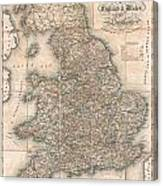 1830 Pigot Pocket Map Of England And Wales Canvas Print