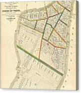 1831 Hooker Map Of New York City Canvas Print
