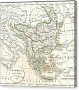 1832 Delamarche Map Of Greece And The Balkans Canvas Print