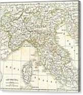 1832 Delamarche Map Of Northern Italy And Corsica Canvas Print