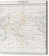 1832 Malte Brun Map Of The World On Mercator Projection Canvas Print