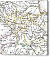 1835 Bradford Map Of Turkey In Asia And The Caucases Canvas Print