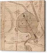 1840 Manuscript Map Of The Collect Pond And Five Points New York City Canvas Print