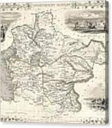1851 Tallis And Rapkin Map Of Independent Tartary  Canvas Print
