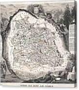 1852 Levasseur Map Of The Department Du Puy De Dome France Canvas Print