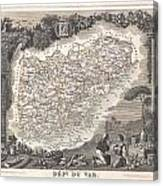 1852 Levasseur Map Of The Department Du Var France  French Riviera Canvas Print