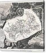 1852 Levasseur Map Of The Department Hautes Alpes France  Canvas Print