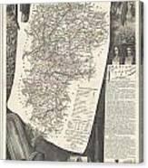 1852 Levasseur Map Of The Department L Aisne France Canvas Print