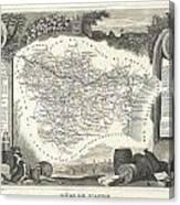 1852 Levasseur Map Of The Department L Aude France Canvas Print