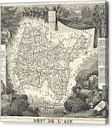 1852 Levasseur Map Of The Department L'ain France Bugey Wine Region Canvas Print