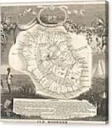 1852 Levasseur Map Of The Reunion Or The Ile Bourbon Indian Ocean Canvas Print