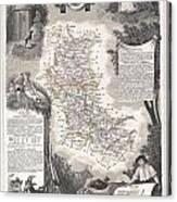 1852 Levasseur Mpa Of The Department De La Loire France Loire Valley Region Canvas Print