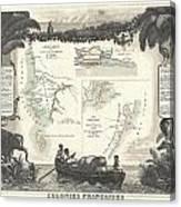 1852 Levassuer Map Of Senegal Senegambia And Madagascar Canvas Print