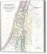 1852 Philip Map Of Palestine  Israel  Holy Land Canvas Print