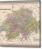 1853 Mitchell Map Of Switzerland  Canvas Print