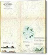 1853 Us Coast Survey Map Or Chart Of Sow And Pigs Reef Off Marthas Vineyard Massachussetts Canvas Print
