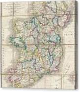 1853 Wyld Pocket Or Case Map Of Ireland Canvas Print
