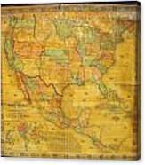 1854 Jacob Monk Wall Map Of North America Canvas Print