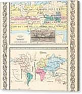 1855 Antique World Maps Illustrating Principal Features Of Meteorology Rain And Principal Plants Canvas Print