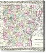 1855 Colton Map Of Arkansas Canvas Print