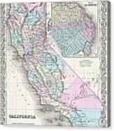 1855 Colton Map Of California And San Francisco Canvas Print