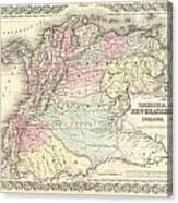 1855 Colton Map Of Columbia Venezuela And Ecuador Canvas Print