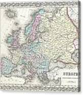 1855 Colton Map Of Europe Canvas Print