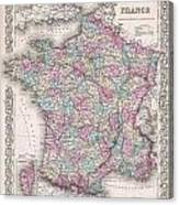 1855 Colton Map Of France Canvas Print