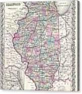 1855 Colton Map Of Illinois Canvas Print