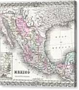 1855 Colton Map Of Mexico - Geographicus1855 Colton Map Of Mexico - Geographicus Canvas Print